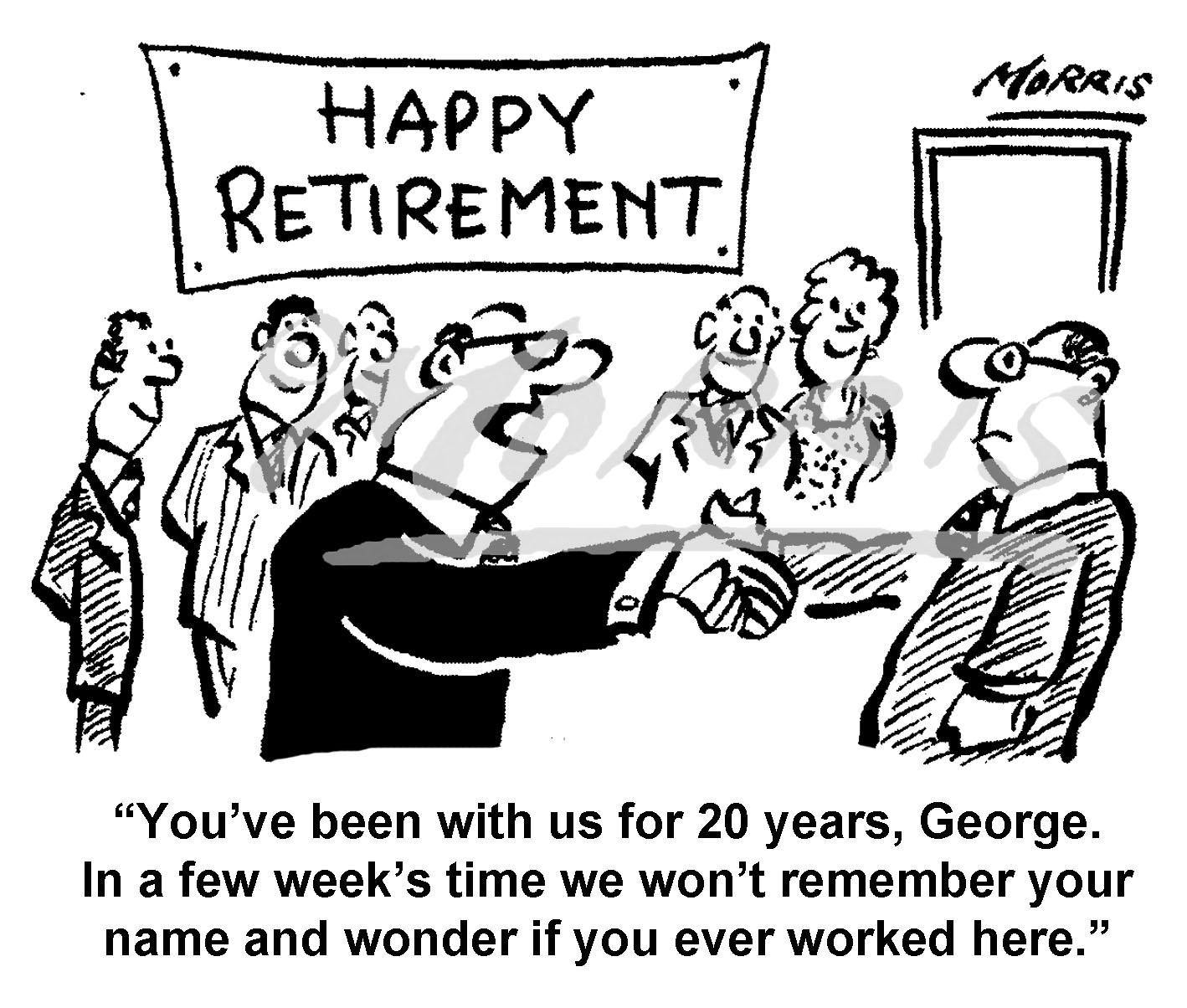 Retirement Cartoon Retirement Comic Ref Bw