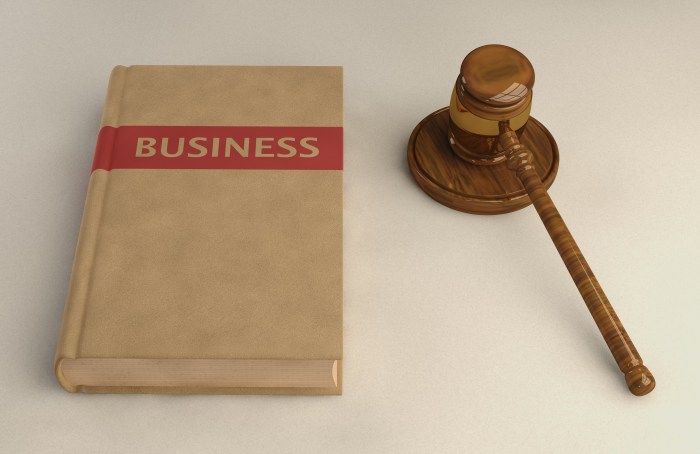 Gavel and Business law book on linen surface. Conceptual illustration