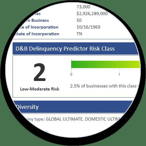 D&B Delinquency Predictor Risk Class Add-On bubble image