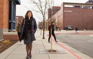 Davidson visiting MSU's Auraria Campus in downtown Denver. (Courtesy MSU Denver)