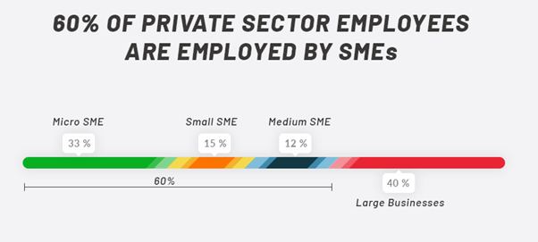 60% of provate sector employees are employed by SMEs