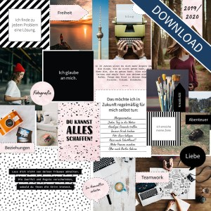 "Vision Board Layout-Set - ""Black & White"" (Digital Download)"