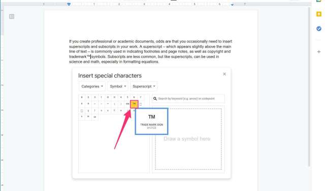 How to add a superscript or subscript in Google Docs to insert