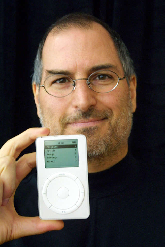 In October, Jobs' Apple would take its first steps beyond the Mac with the iPod, a digital music player that promised