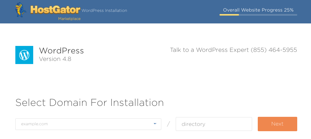 Domain Option for WordPress Install