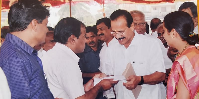 With former Chief Minister Sadanand Gowda