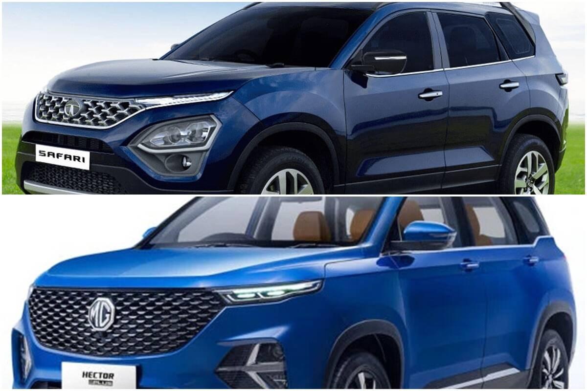 Tata Safari Vs MG Hector Plus, engine, power and features full comparison, 2021 tata safari features, new tata safari specifications, 2021 tata safari engine