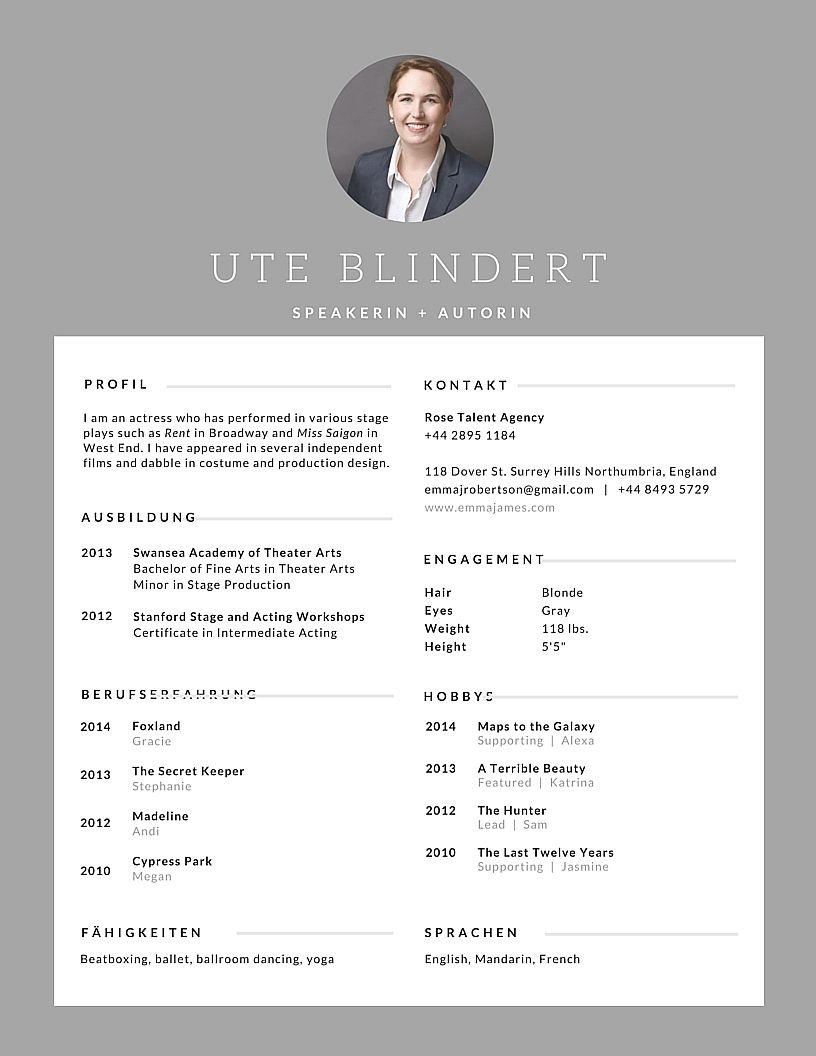 Lebenslauf Praktikum Studentin Beispiele | Business Ladys
