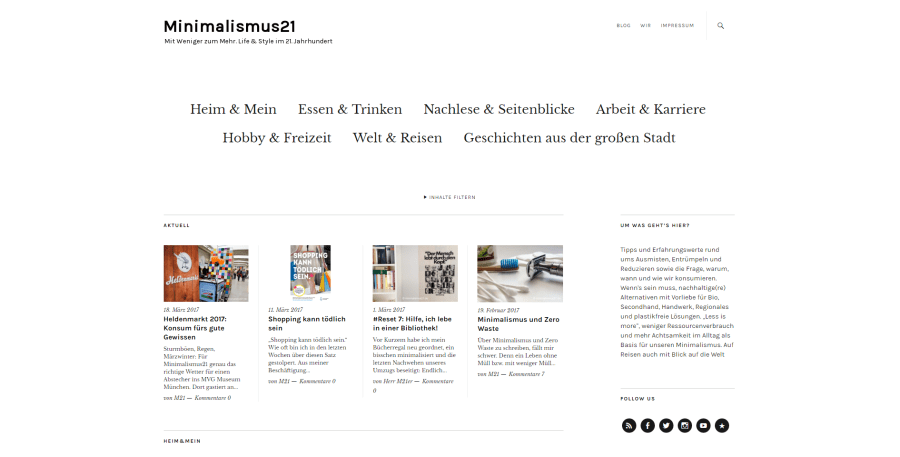 "Screenshot des Blogs ""Minimalismus21"""