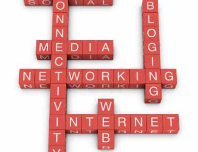 Social netwroking and internet concept crossword