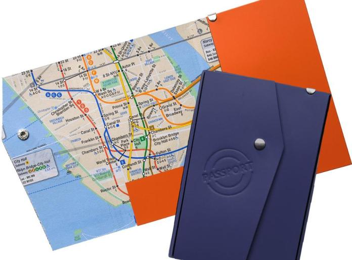 Recycled leather passport/boarding pass case from NYC Subway Line.