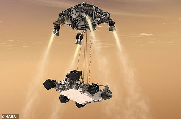 This concept art shows the Mars 2020 rover landing on the red planet via NASA's 'sky-crane' system