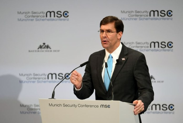 U.S. Defense Secretary Mark Esper speaks at the annual Munich Security Conference in Germany February 15, 2020. REUTERS/Andreas Gebert