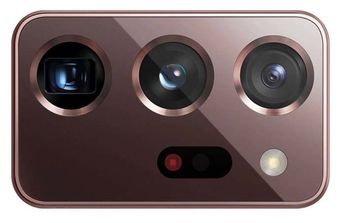 A closeup of the cameras of the Samsung Galaxy Note20 Ultra 5G.