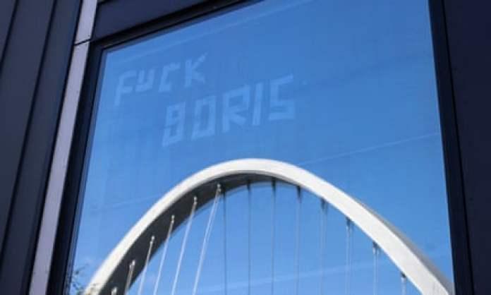 'Fuck Boris' on window