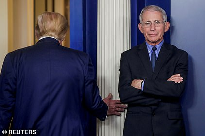 US Covid supremo Anthony Fauci, pictured with President Trump, lashed out over the speed of Britain's decision to approve the Pfizer /BioNTech jab, suggesting they cheated. He later apologised