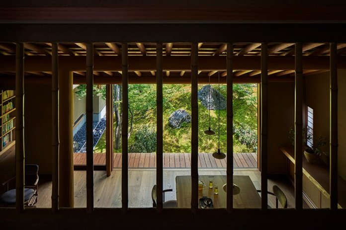 hiroshi nakamura & NAP articulate house in kyoto around courtyard with a sacred rock