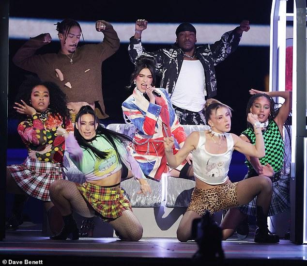 True Brit: Dua Lipa, in a Union Jack jacket, performing at last week's Brit Awards