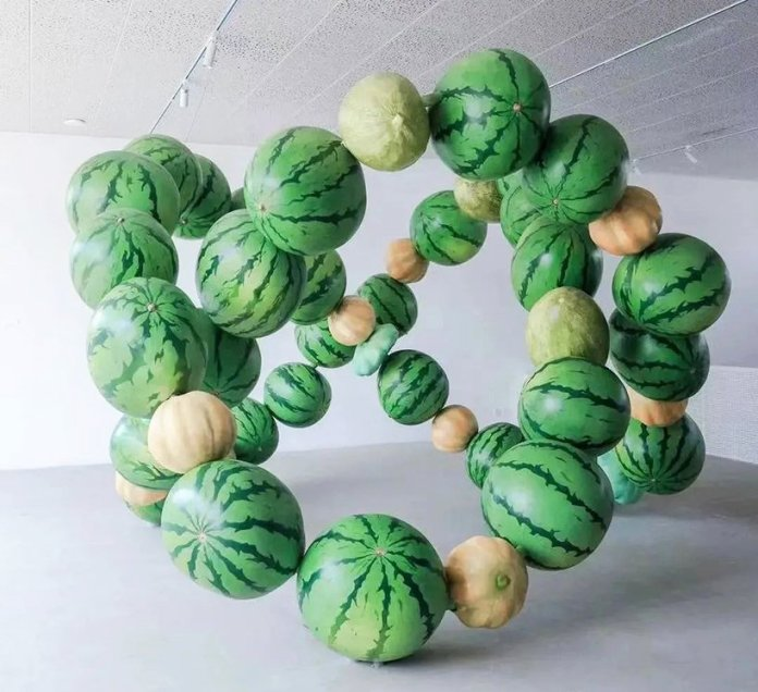 cyril lancelin explore data and nature abundance in an immersive sculpture made of giant melons in beijing 1