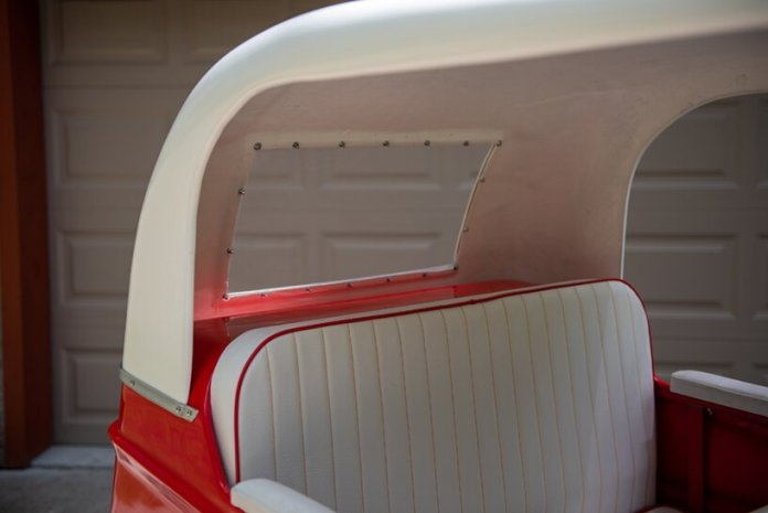 three-wheeled and all-electric, the taylor-dunn trident runabout recalls the eclectic sixties