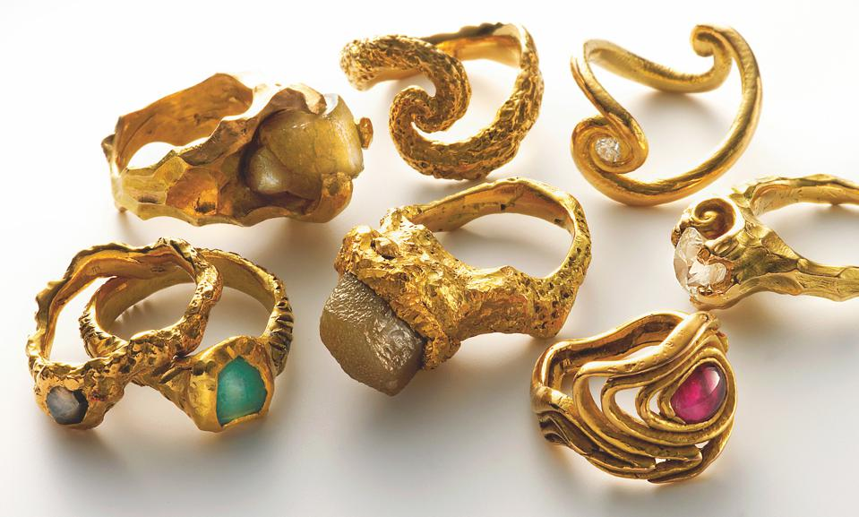 18-karat gold and emerald, rubellite, diamond rings by Arje Griegst