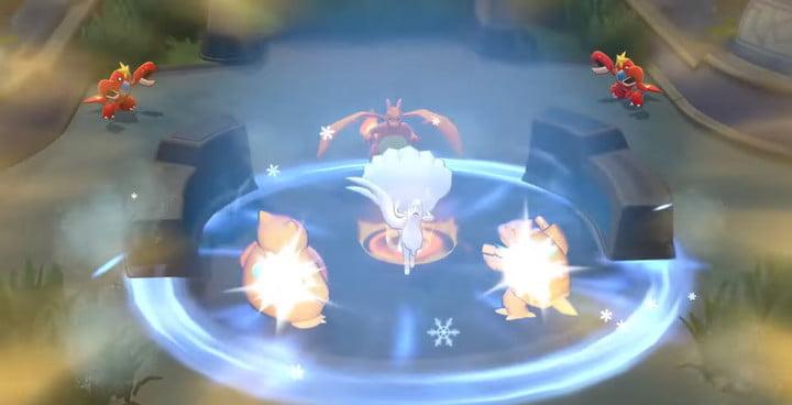 Alolan Ninetales AoE attack in Pokémon Unite.