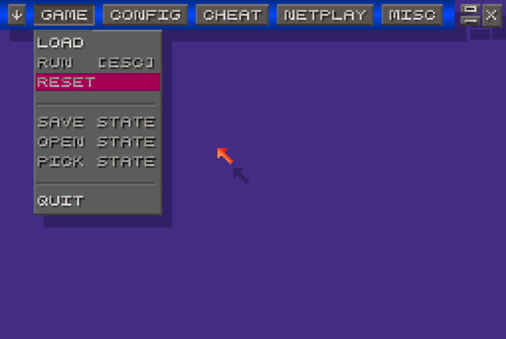ZSNES main menu with no game running.