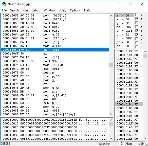 NO$SNS debugger screen.