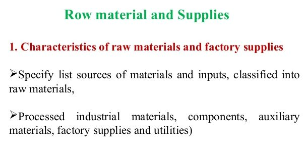 Raw materials / inputs in feasibility study