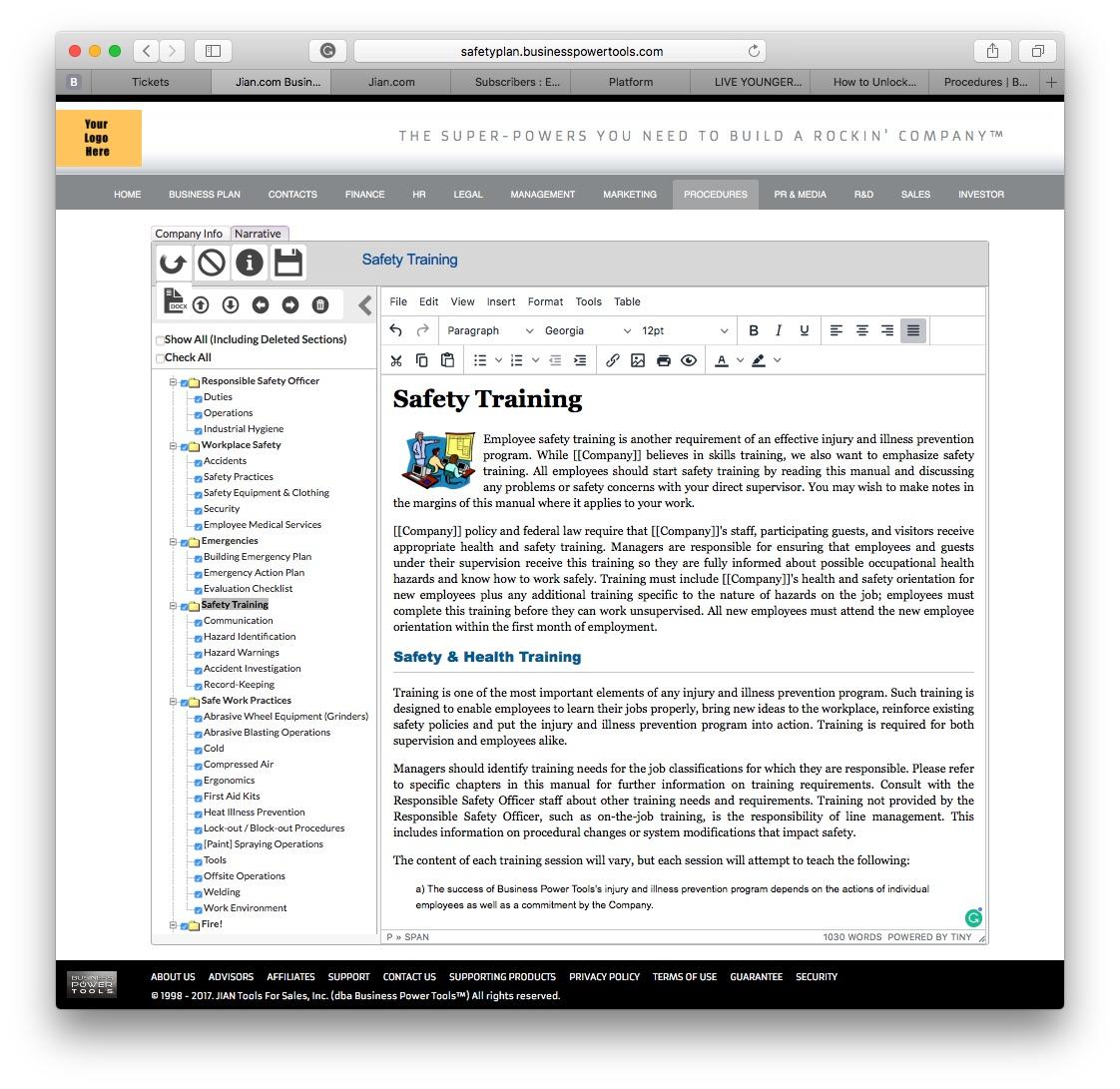 osha safety training software template handbook