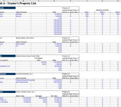 screen of estate value calculation worksheet for living trust software template