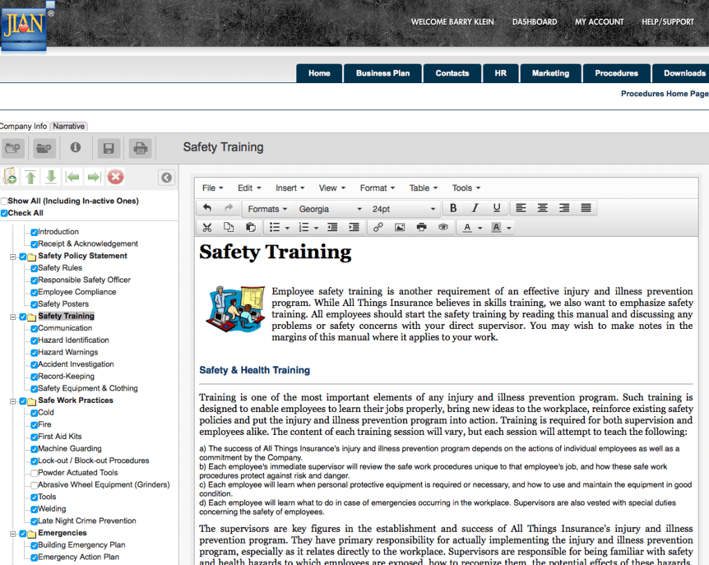 osha safety training injury and illness prevention handbook cloud-based software template online
