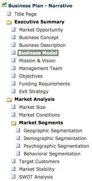 BizPlanBuilder business plan software template app menu