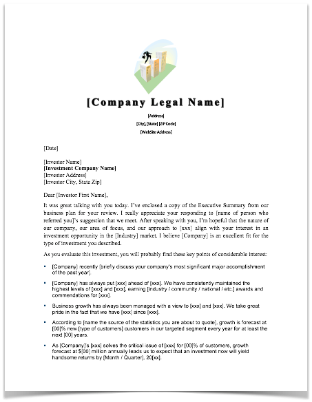 sample cover letter to angel or venture capital investor template in word