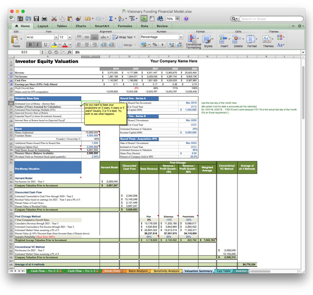 screen image jian business plan financial projection software excel template valuation