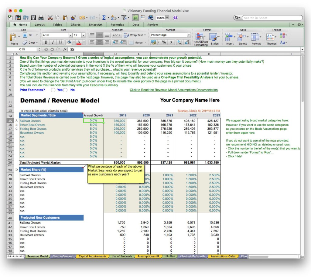 screen image bizplanbuilder revenue model projection excel
