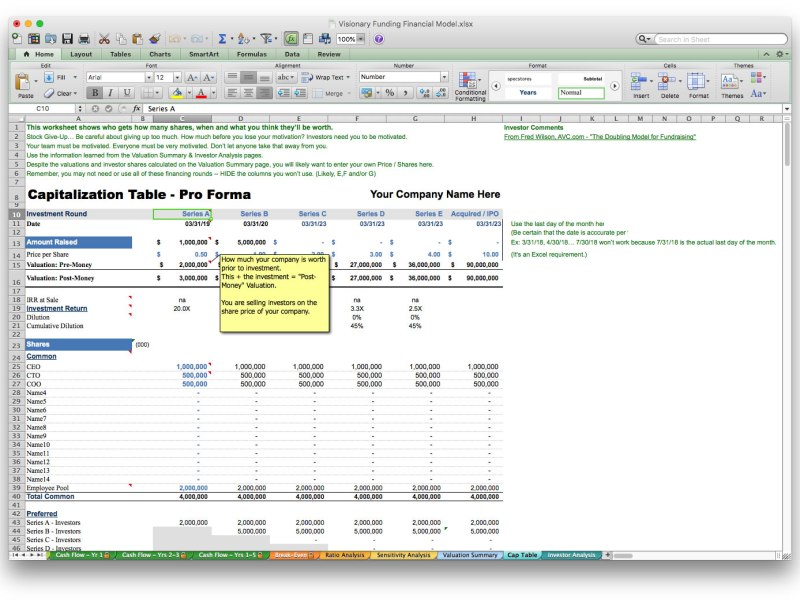 screen image business plan software excel template financial projection forecast model cap table