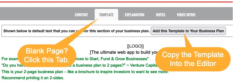 Adding content to business plan screen