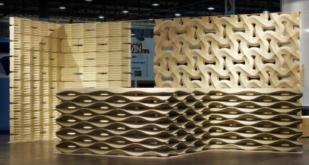 Designer Raffaello Galiotto showed pre-fabricated modular walls at this year's Marmomacc designed for Lithos Design.