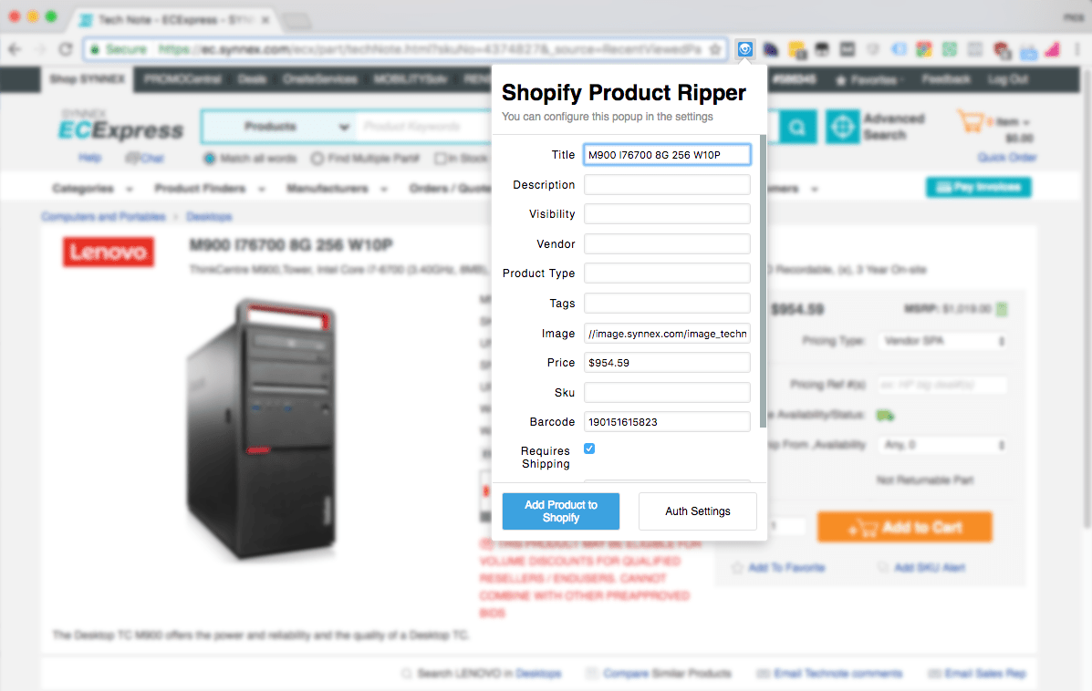 screenshot of the chrome product ripper extension by btp