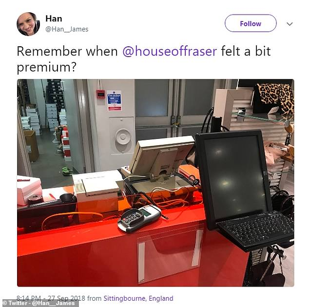 On visiting the Sittingbourne branch of the department store, one Twitter user wrote: 'Remember when @houseoffraser felt a bit premium?'