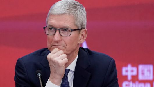 Apple CEO Tim Cook attends the annual session of China Development Forum (CDF) 2018 at the Diaoyutai State Guesthouse in Beijing, China March 26, 2018.