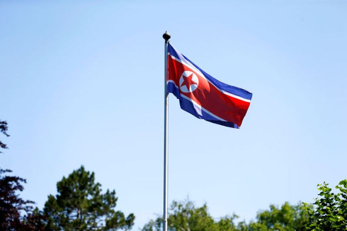© Reuters. The flag of North Korea is seen in Geneva