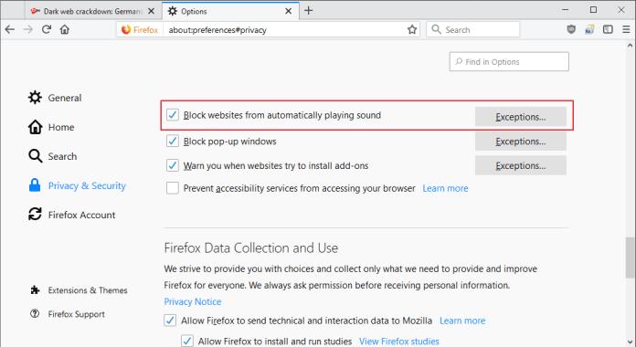 firefox block websites sound