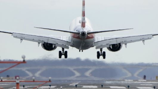 An American Airlines Boeing 737 MAX 8 flight from Los Angeles lands at Reagan National Airport shortly after an announcement was made by the FAA that the planes were being grounded by the United States in Washington, March 13, 2019.