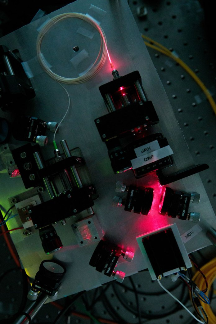 Pictured here is a device developed in the NUS‐Singtel Cyber Security R&D Lab that creates particles of light, known as photons that are connected by the quantum property of entanglement. (Credit: National University of Singapore)