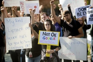 Workers protest against Google on 1 November 2018 in Mountain View, California.