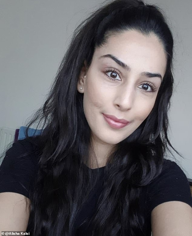 Alisha would stay in the shadows and hope no one would notice her. She said: 'I simply couldn't love myself and all my energy and attention fixated on my acne. I barely went out and stayed at home in my room watching films.' Pictured, Alisha after using the serum in March 2019
