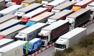 Lorries queue to enter the Port of Dover in Kent
