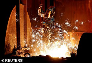 Slump: German factory orders were 8.4 per cent lower in February than they had been a year earlier